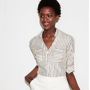 Slim Fit Metallic Striped Portofino Shirt Sz. Med